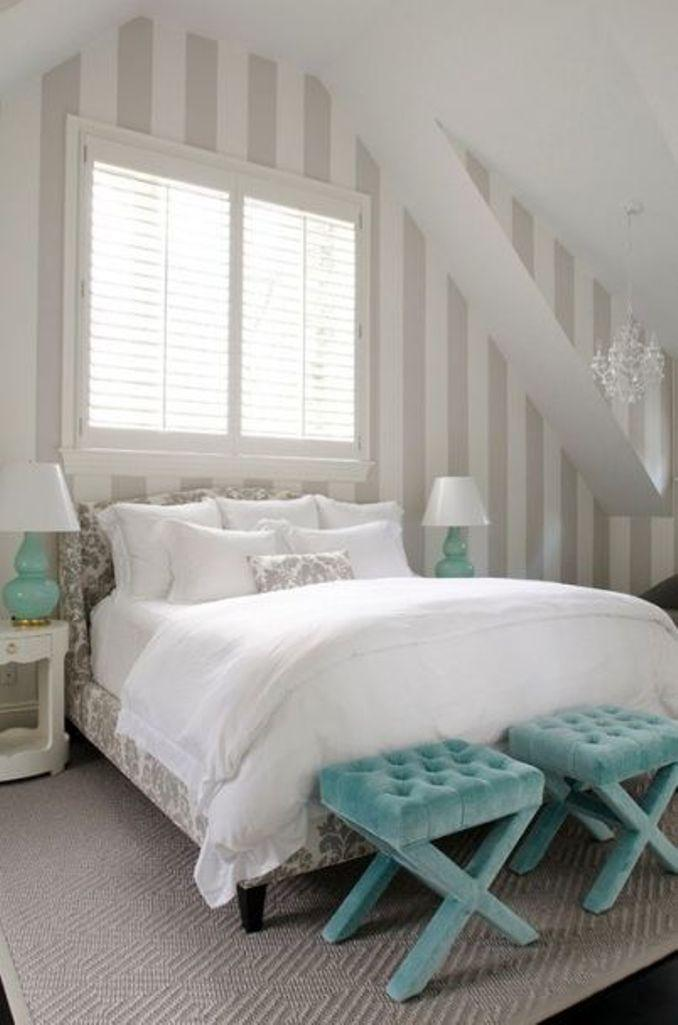 Soft Bedroom With Creamy Striped Walls