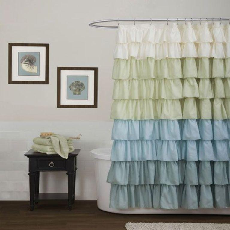 10 Lively Ruffled Shower Curtain Designs - Rilane