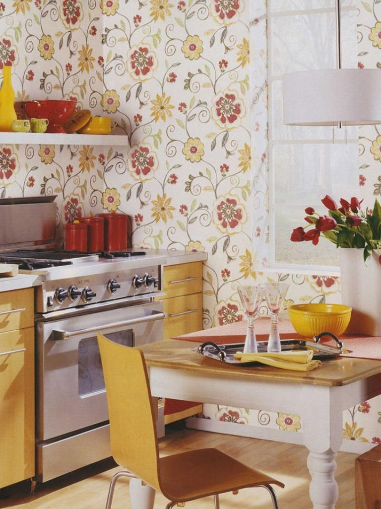 15 Charminng Kitchens With Floral Wallpaper Rilane