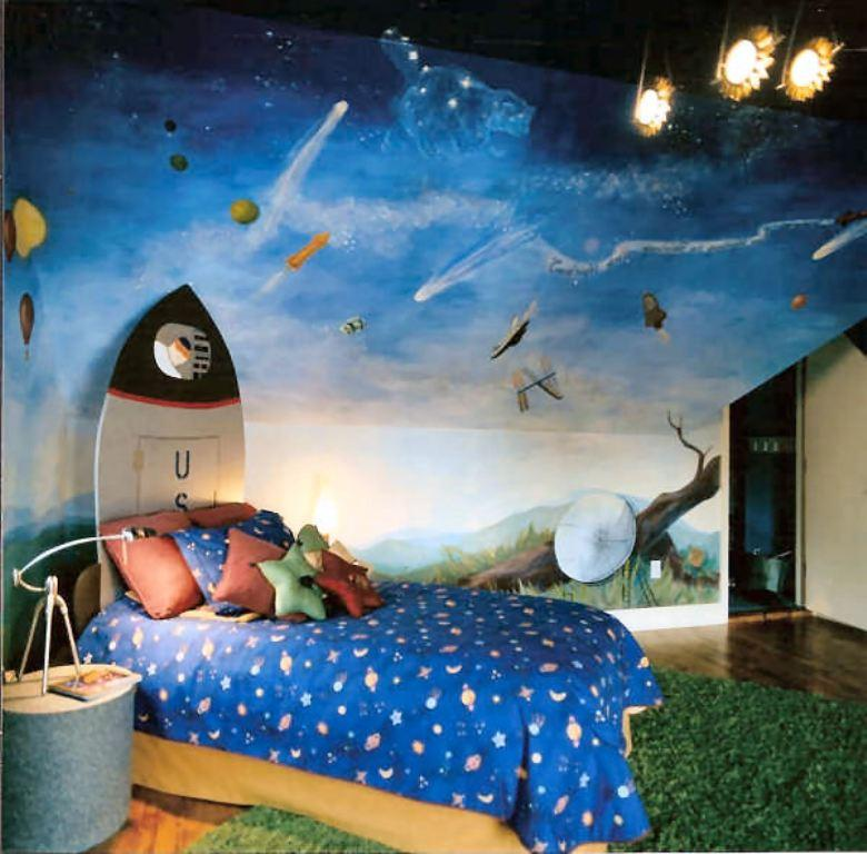 15 fun space themed bedrooms for boys rilane for Boys room wall mural