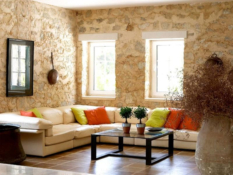 15 living room designs with natural stone walls rilane for Natural living room design ideas