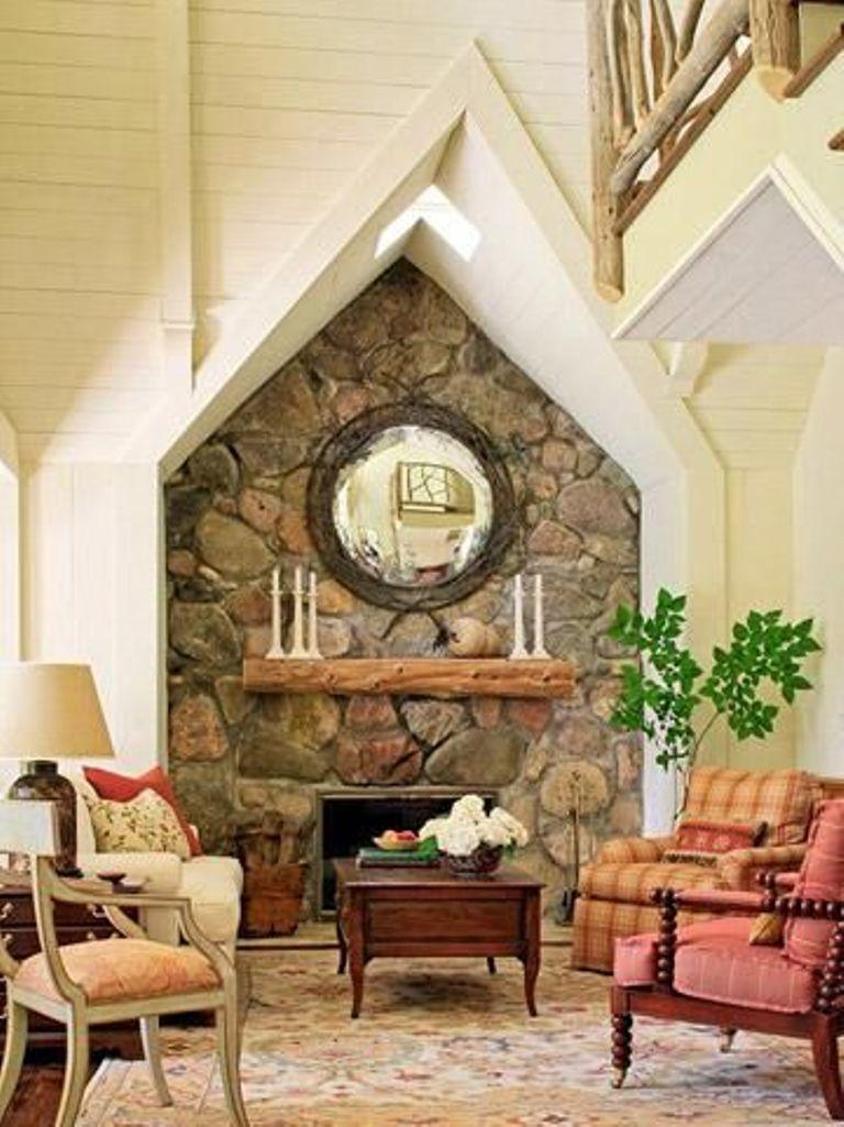 Traditional Living Room With Natural Stone Wall