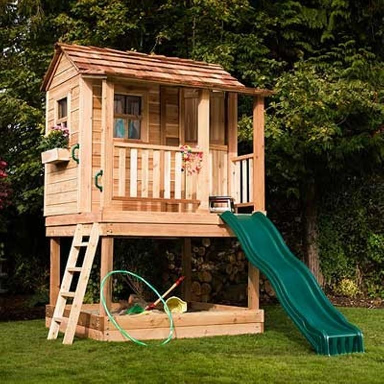 Two Story Playhouse With A Tent Good Ideas