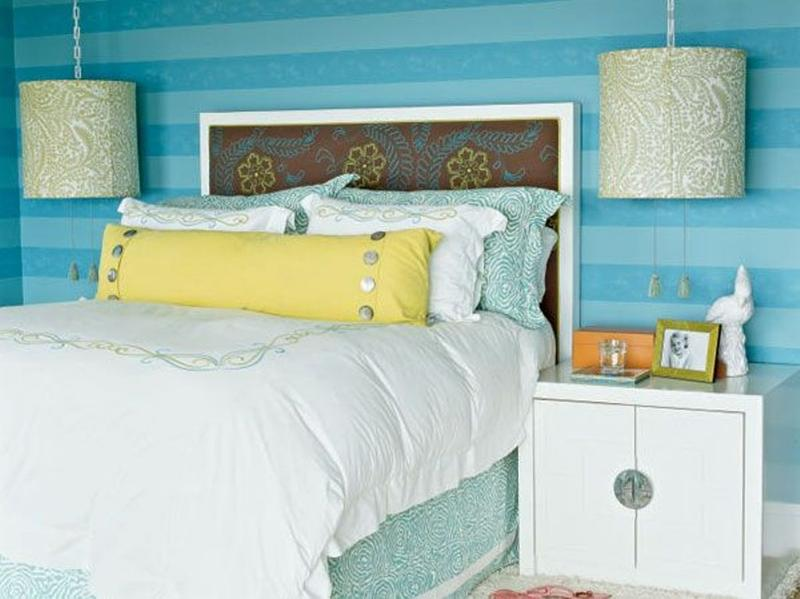 Vibrant Bedroom With Blue Striped Walls