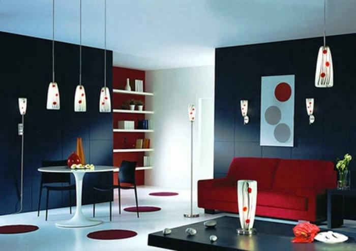 Vibrant Black And White Room With Red Dots