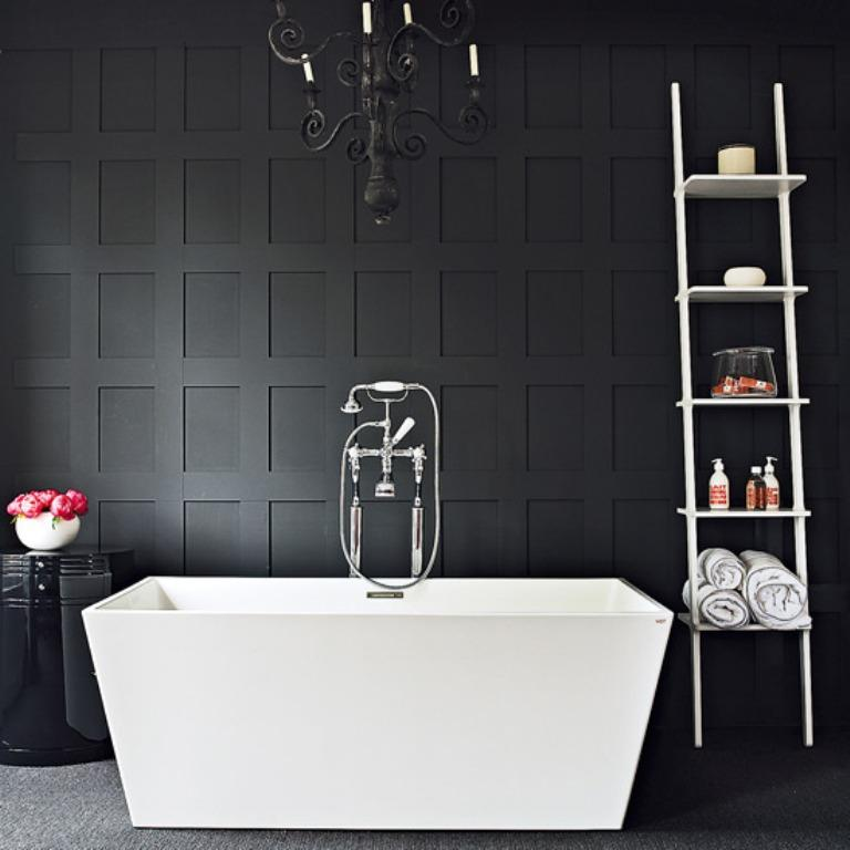 Wood Paneled Black Bathroom - 20 Bold Black Bathroom Design Ideas - Rilane