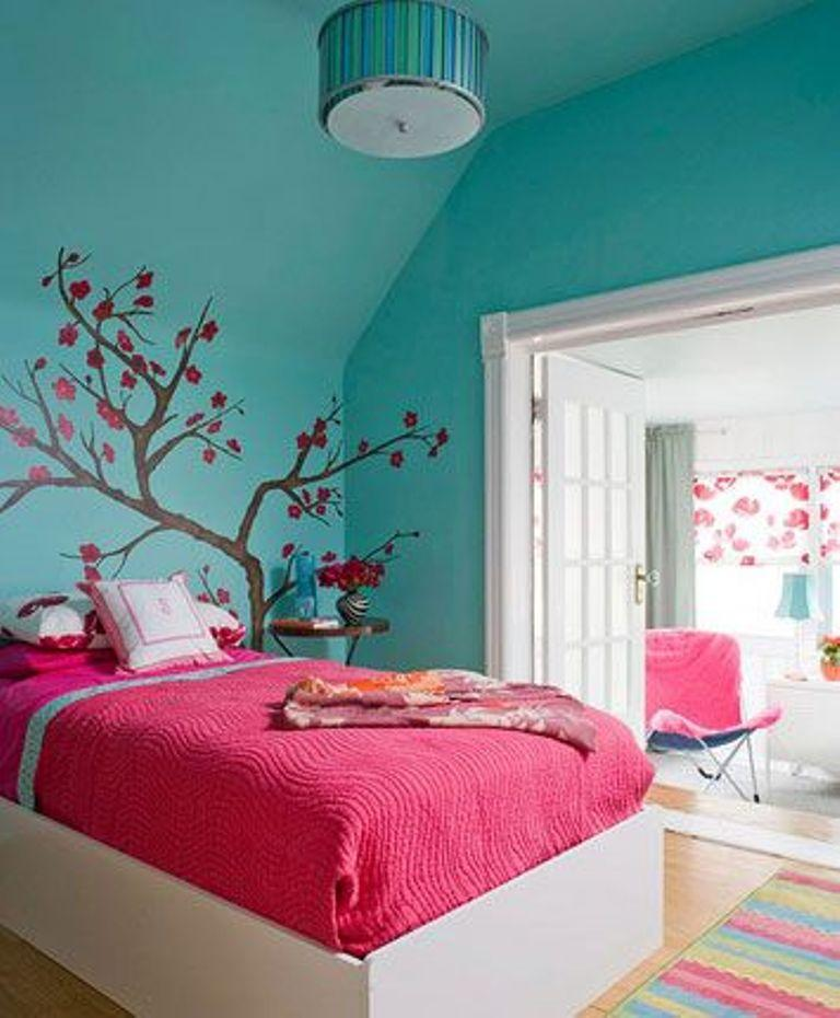 15 adorable pink and blue bedroom for girls rilane for Pink teenage bedroom designs