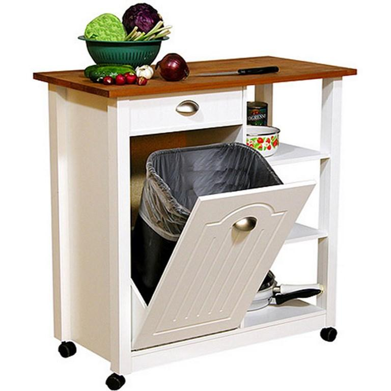 Basic White Wood Kitchen Cart
