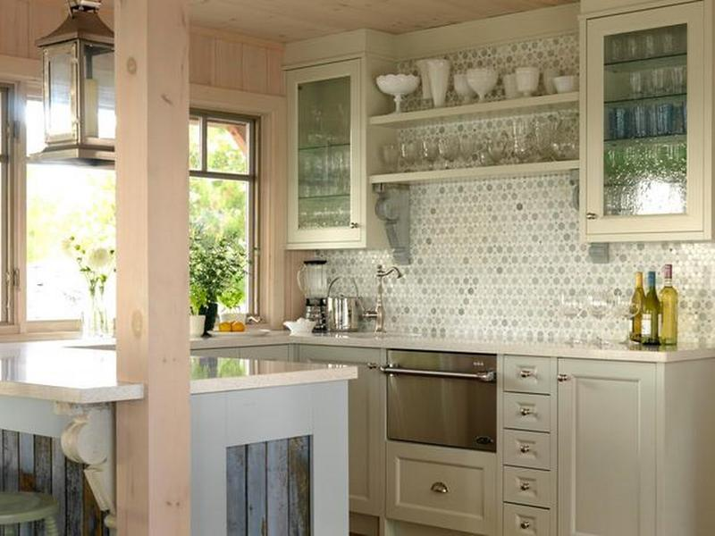 Beautiful Kitchen With Gl Cabinets