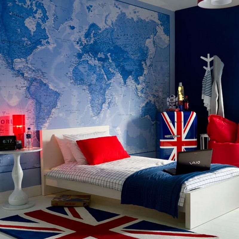 Boys Bedroom With Feature Wallpaper: 15 Boys Bedrooms With Map Walls