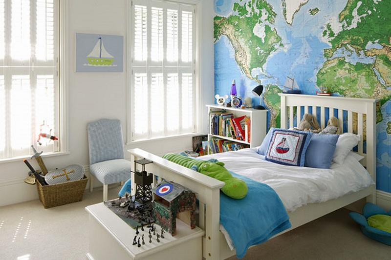 Boys Bedrooms With Map Walls Rilane - Boys room with maps