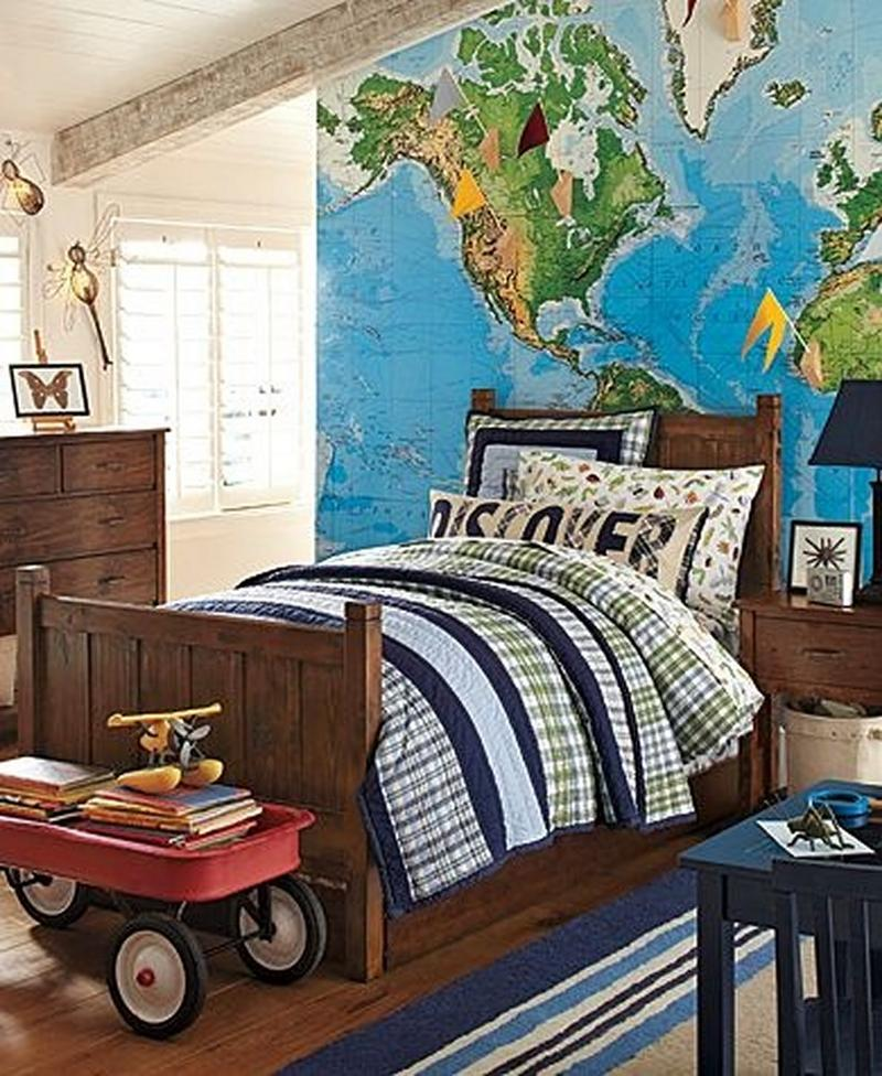charming boys bedroom with map wall - Pics Of Boys Bedrooms