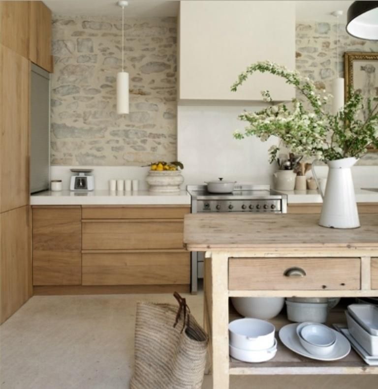 Charming Kitchen With Natural Stone Wall