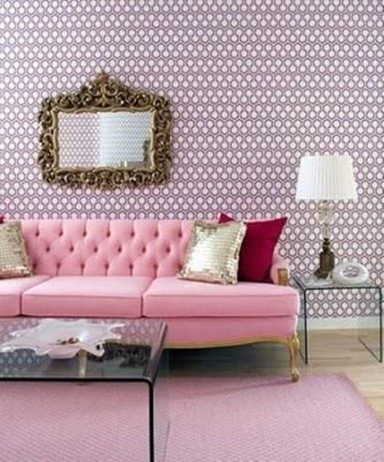 15 living rooms with geometric wallpaper rilane for Pink living room wallpaper