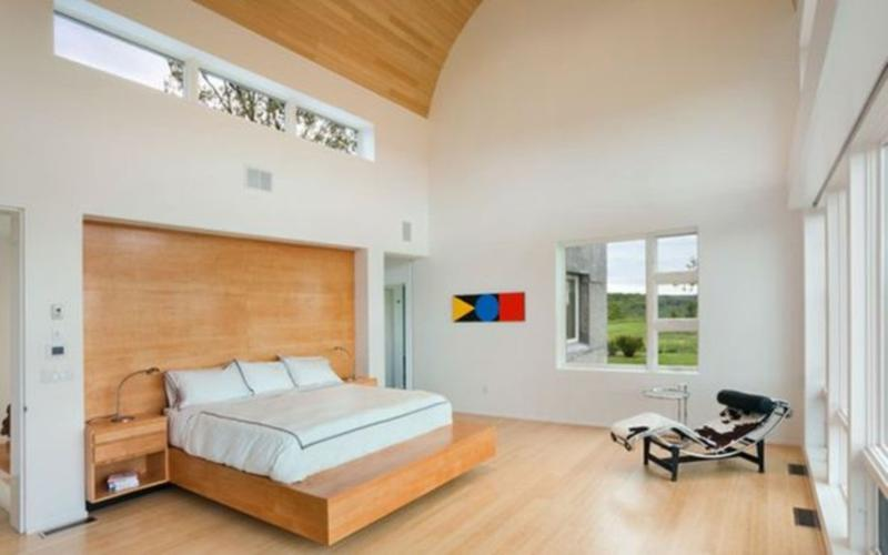 contemporary bedroom with light wooden panel - Bedroom Design Wood