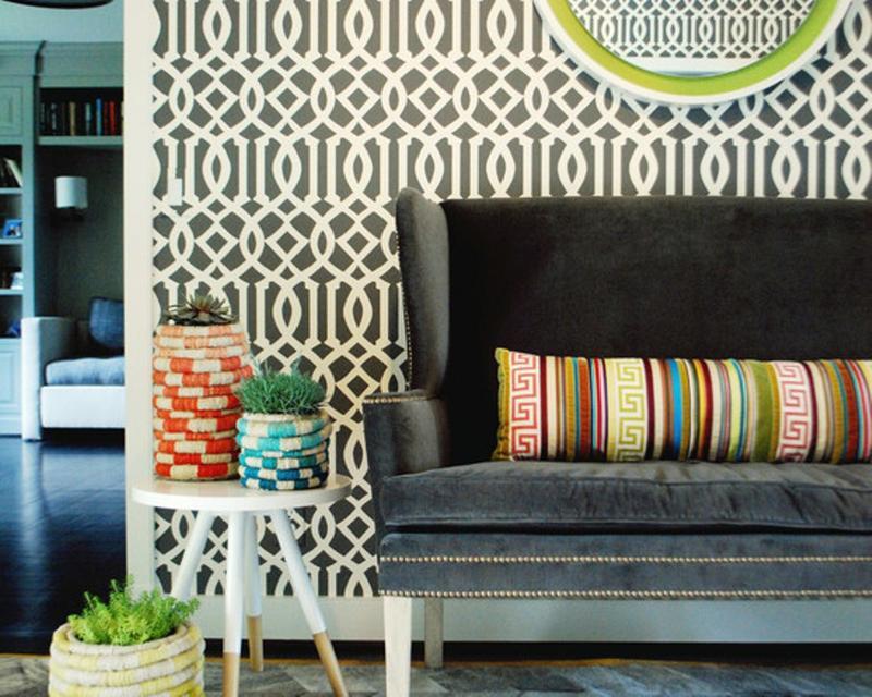 15 Living Rooms With Geometric Wallpaper Rilane