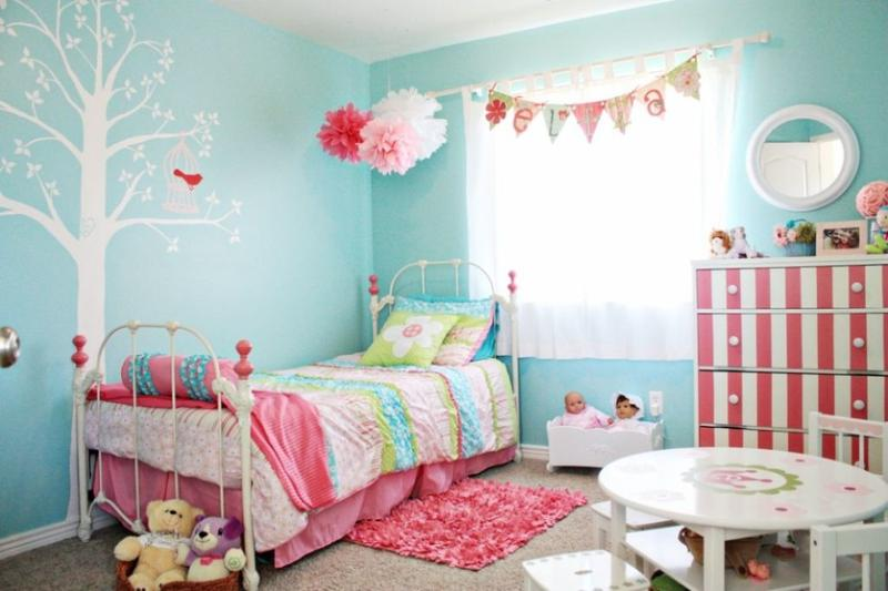 Cool Pink and Blue Bedroom