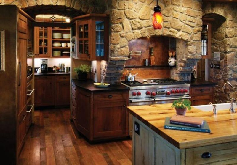 15 Natural Kitchen Designs with Stone Wall - Rilane