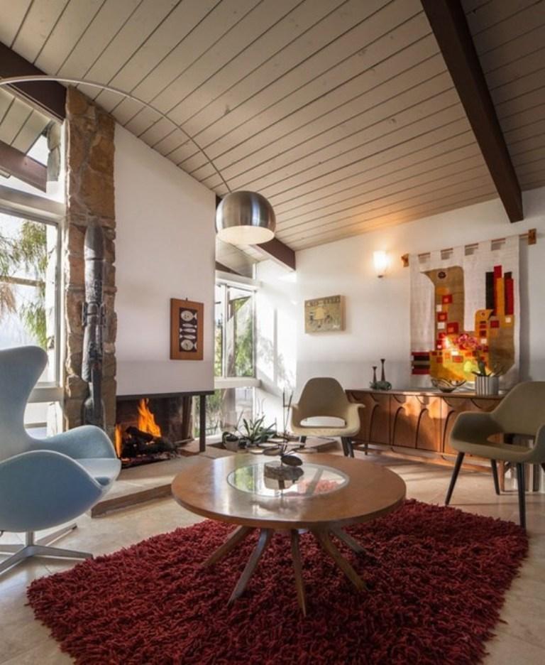 Cottage Mid Century Living Room