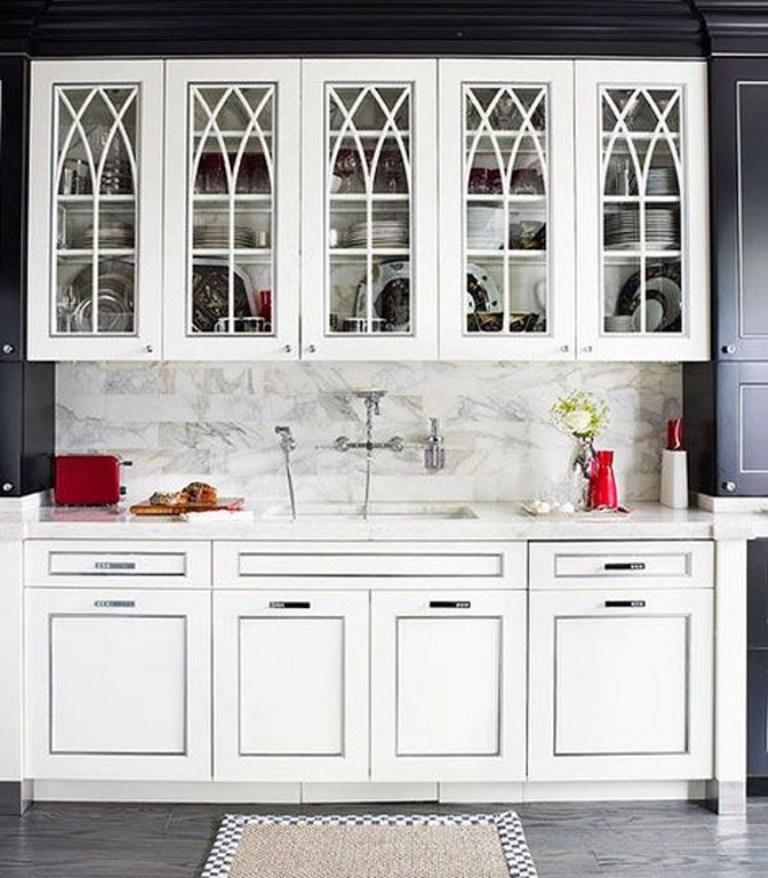 Elegant Kitchen With Glass Cabinets