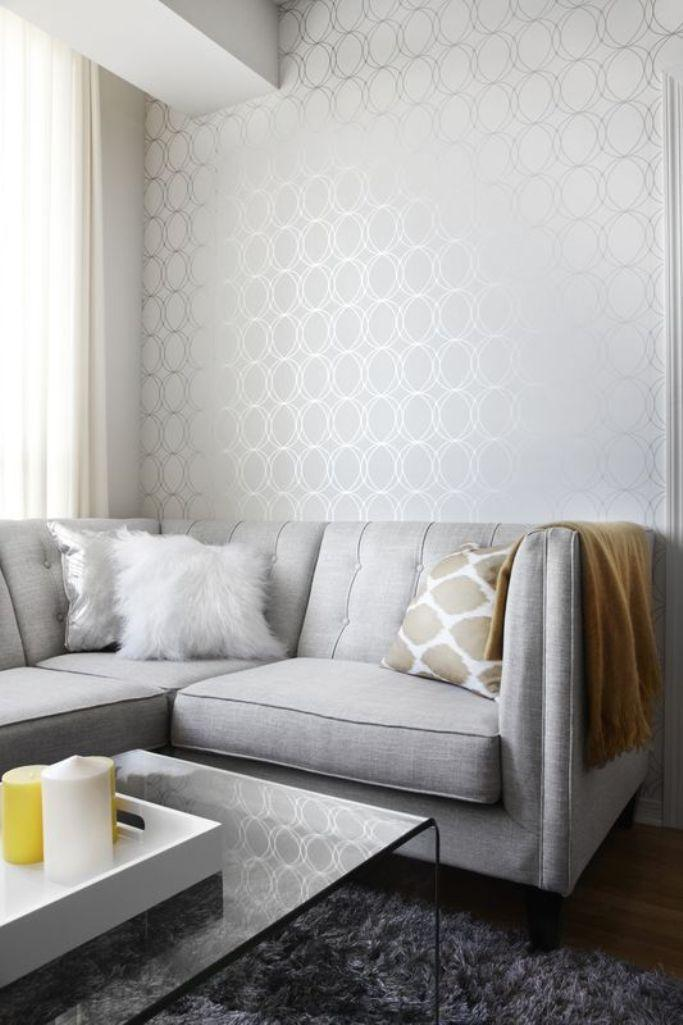 Elegant Living Room With Geomtrical Wallpaper Part 81
