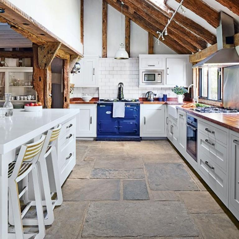 Flagstone Floor White Country Kitchen