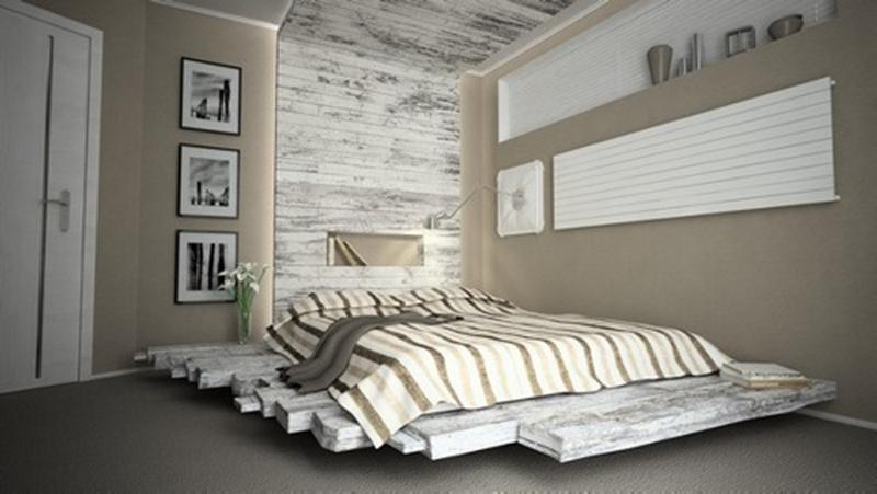 Delightful Floating Pallet Bed
