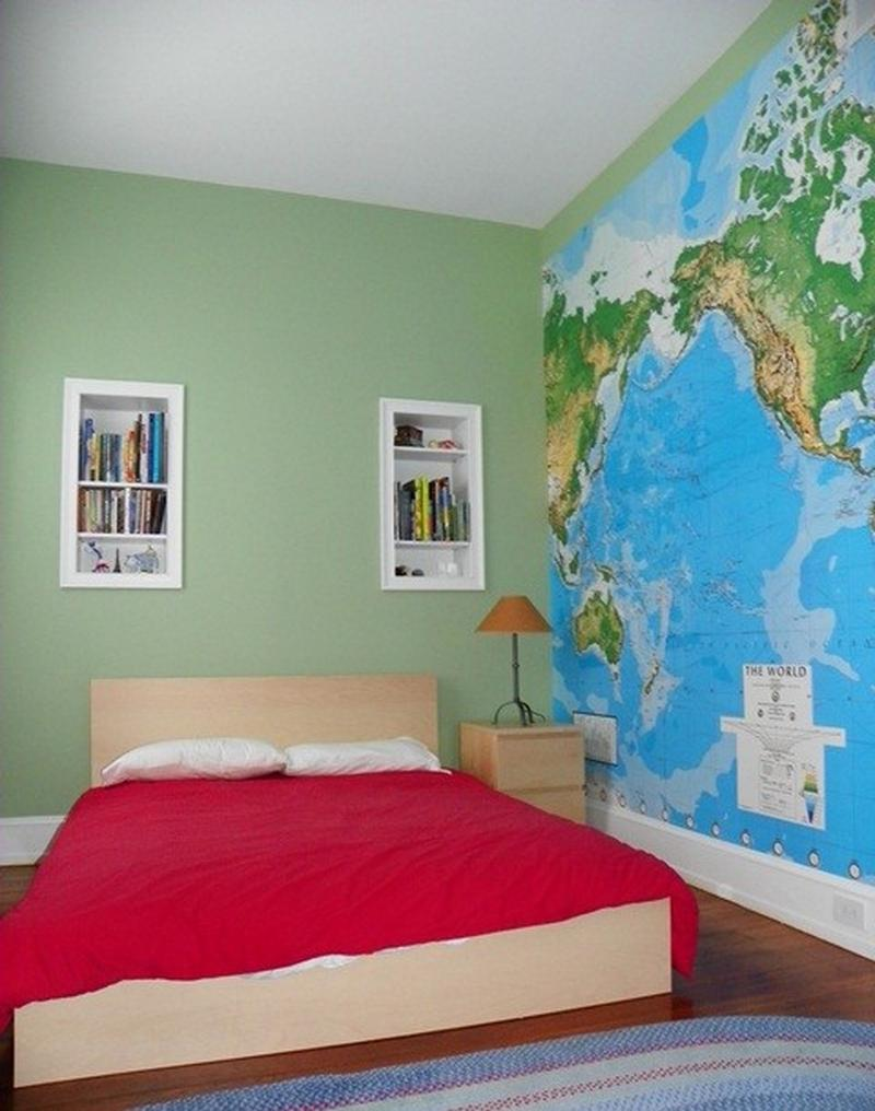 Green Boy Bedroom With Map Wall