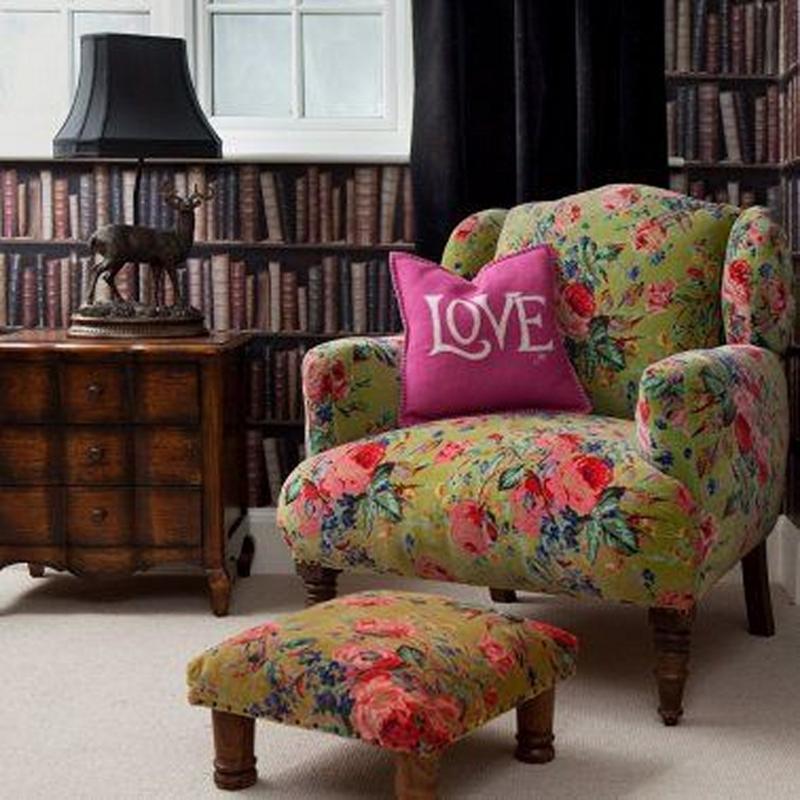 Green Floral Armchair