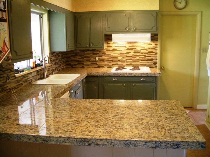 grey ushaped kitchen countertop