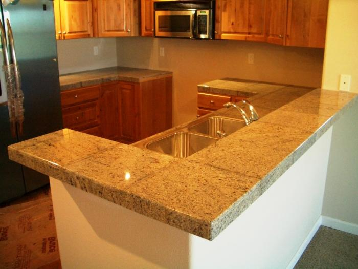 Tile Countertop Ideas Kitchen Part - 20: Grey With Grain Kitchen Countertop