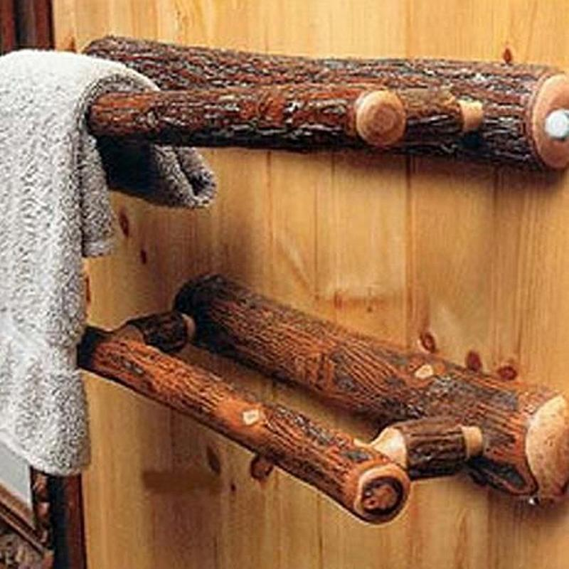 Hickory Log Bathroom Towel Rack