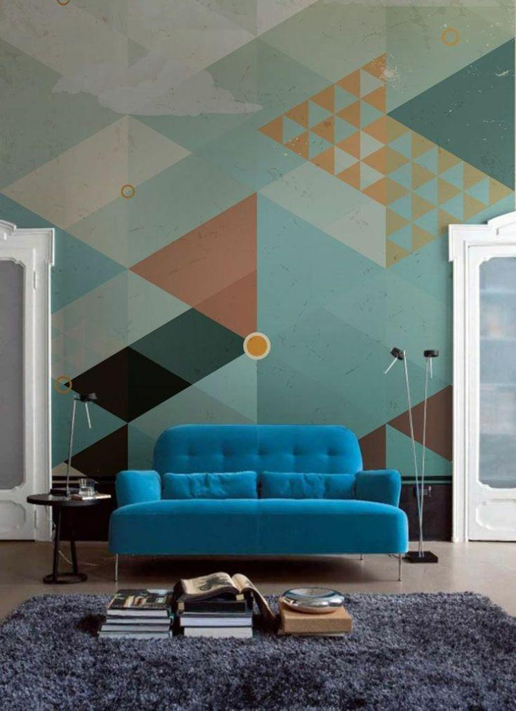 Living Room With Cool Geometric Wallpaper