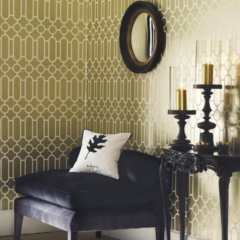 living room with geometric wallpaper - Wallpaper Rooms