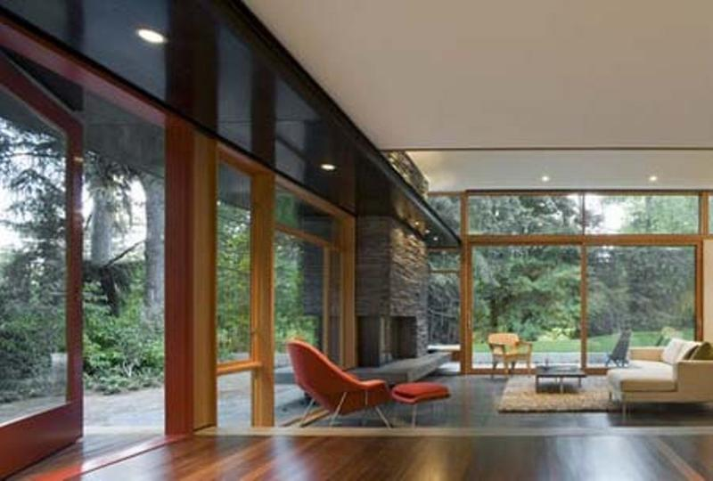 Living Room With Wide Glass Wall