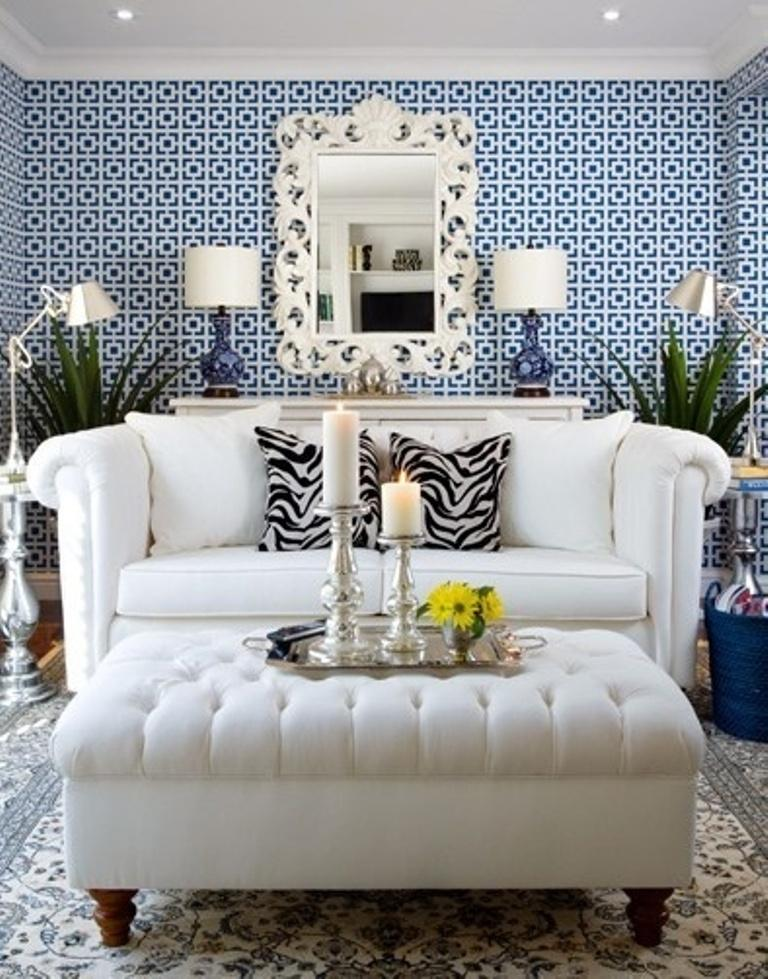 Mediterranean Living Room With Geometric Wallpaper