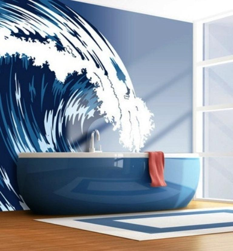 15 beach themed bathroom design ideas rilane for Beach themed mural