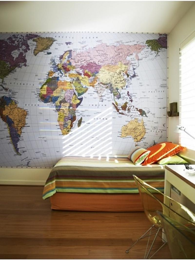 15 boys bedrooms with map walls rilane for Room design map