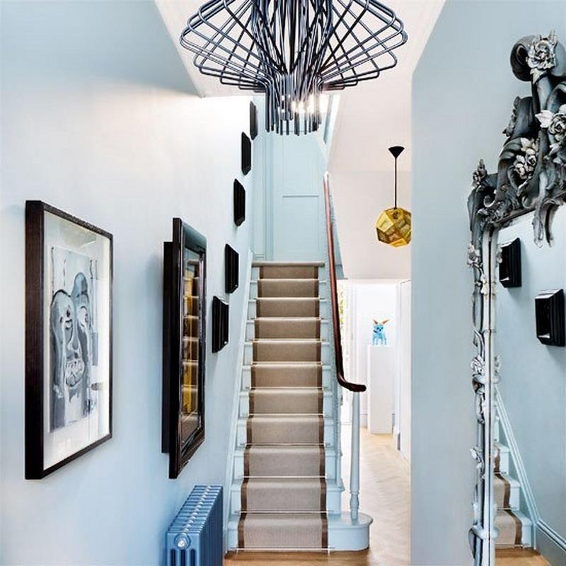 Lovely Contemporary Victorian Hallway: 10 Blue Hallway Design Ideas