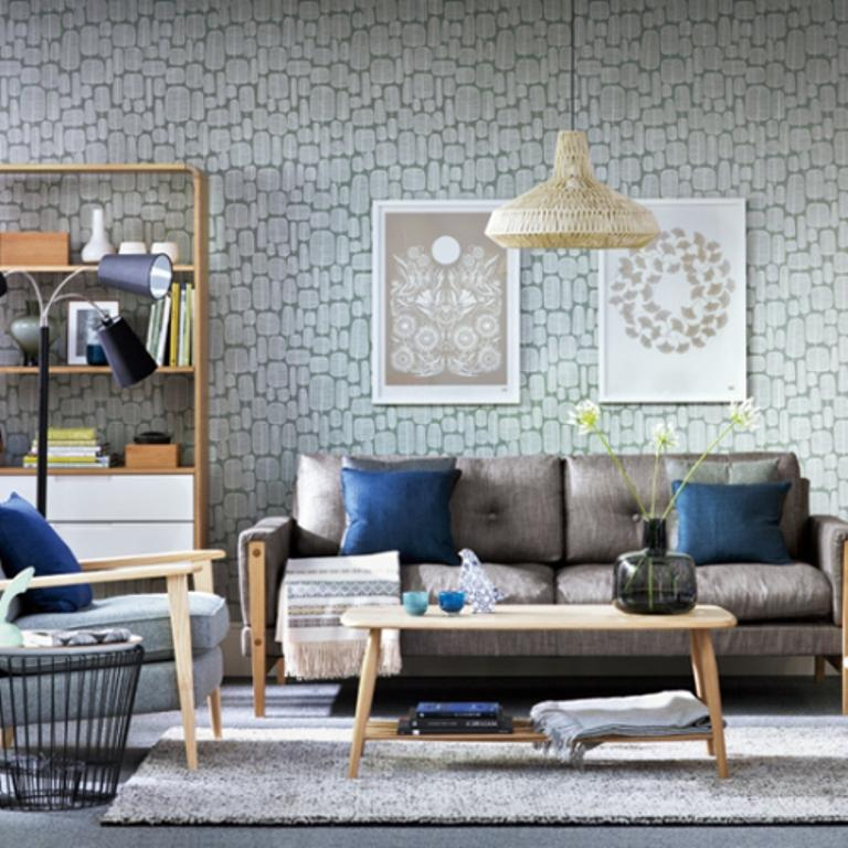 Modern Living Room With Mid Cenutry Geometric Wallpaper