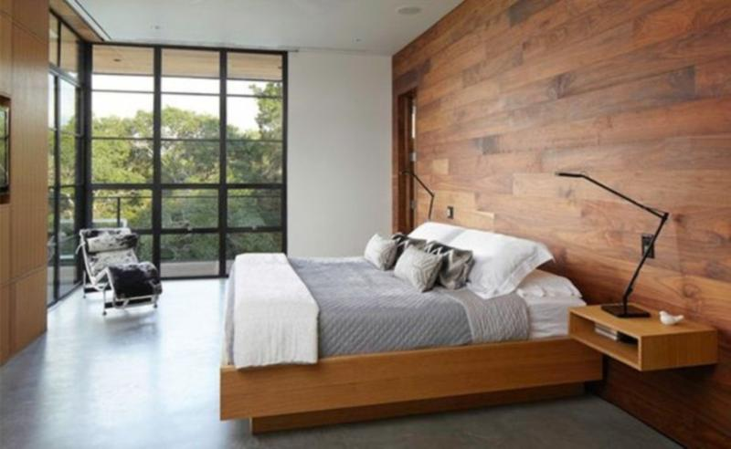 Elegant Natural Bedroom With Maple Wood Panel
