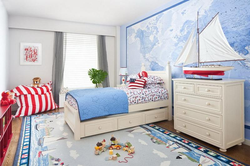 Nautical Boy Bedroom With World Map Wall
