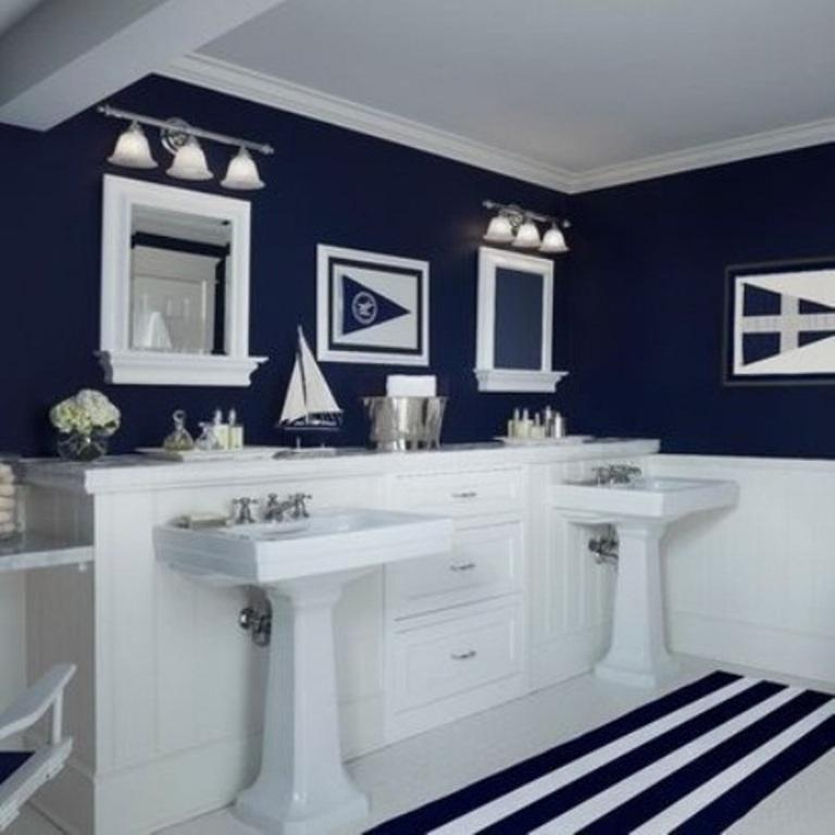 Beach Themed Bathroom Design Ideas Rilane - Navy blue bathroom accessories for small bathroom ideas