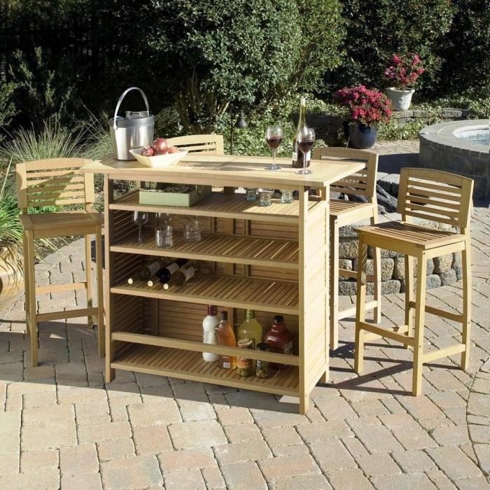 10 sturdy outdoor mini bar ideas rilane for Wood outdoor bar ideas