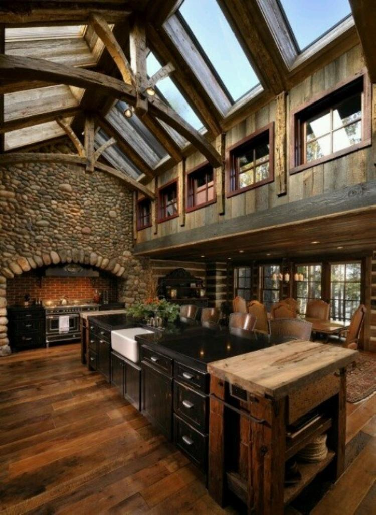 Outstanding Kitchen with Stone Wall