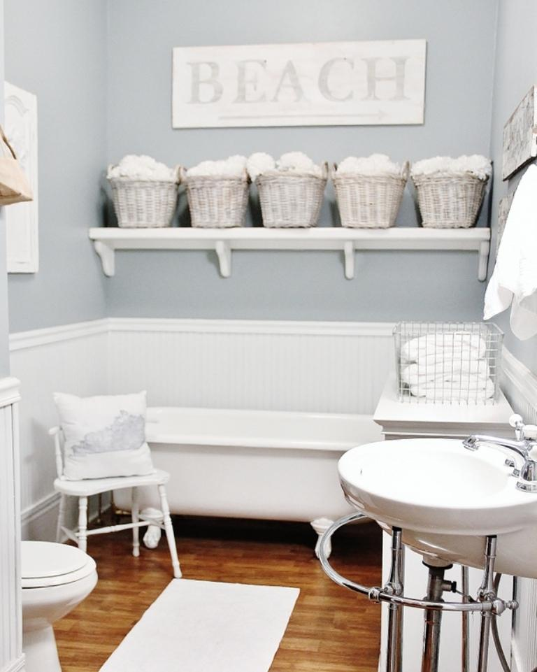 Pale Blue Beach Themed Bathroom