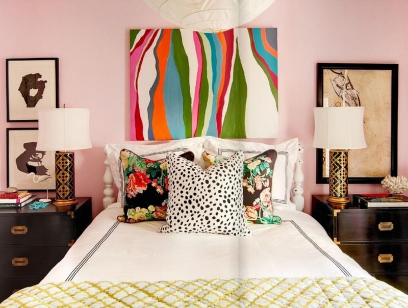 Pale Pink Eclectic Bedroom