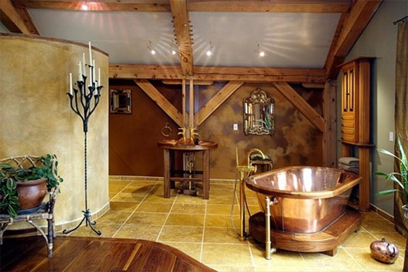 rustic bathroom with roll top copper bathtub - Copper Bathtub