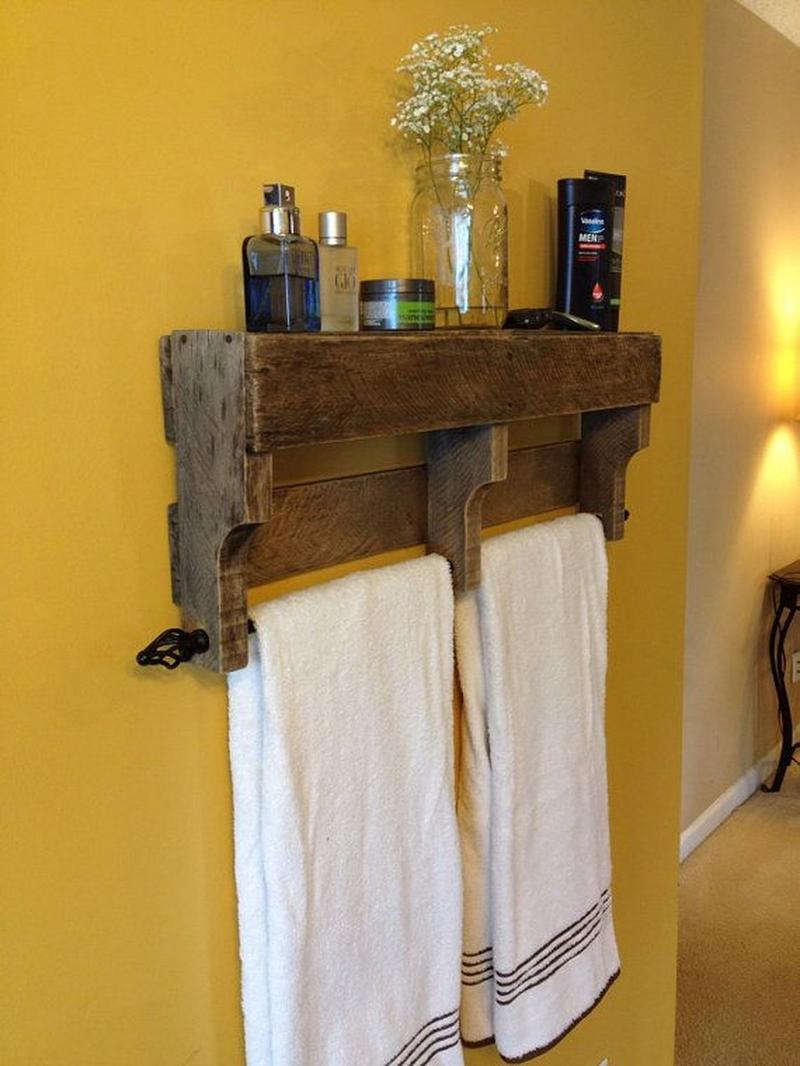 White towel racks bathroom wooden bathroom towel racks wooden towel - Rustic Wood Pallet Towel Rack