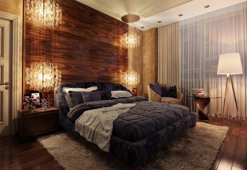 Splendid Bedroom With Textured Wooden Panel